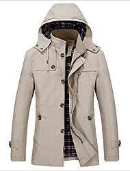 Men's Going out Simple Winter Fall Trench Coat,Solid Long Sleeve Regular