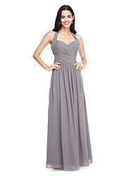 A-Line Halter Floor Length Chiffon Bridesmaid Dress with Side Draping Criss Cross by LAN TING BRIDE®