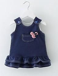 abordables -bébé Robe Fille de Quotidien Couleur Pleine Coton Hiver Automne Sans Manches Bleu Rose