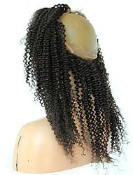 Недорогие -360 Лобовой Kinky Curly Человеческие волосы закрытие Умеренно-коричневый Французское кружево 75g-95g грамм Средние Размер крышки