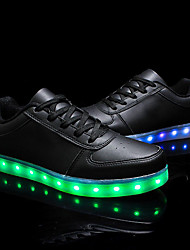 cheap -Unisex Shoes Leather Spring Fall Comfort Light Up Shoes Sneakers Walking Shoes Low Heel Round Toe Lace-up for Athletic Casual Outdoor