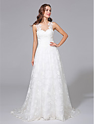 cheap -A-Line Illusion Neckline Sweep / Brush Train Lace Custom Wedding Dresses with Appliques by LAN TING BRIDE®