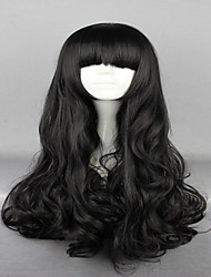 cheap -Synthetic Wig Wavy With Bangs Black Women's Capless Carnival Wig Halloween Wig Cosplay Wig Very Long Synthetic Hair