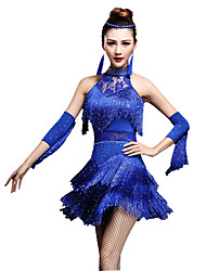 cheap -Latin Dance Dresses / Shorts Women's Performance Nylon / Chinlon Tassel / Crystals / Rhinestones Sleeveless High Dress / Gloves