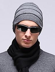 Men England Vintage Casual Twist Weave Wool Cotton Warm Pure Color Knit Caps