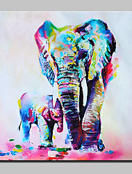 cheap -Hand Painted Mother And Baby Elephan Oil Painting On Canvas Modern Wall Art Picture For Home Decoration With Stretched Frame Ready To Hang