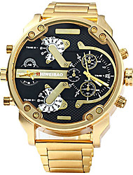 baratos -Homens Relógio Esportivo Relógio Militar Bracele Relógio Impermeável Calendário Criativo Aço Inoxidável Banda Analógico Amuleto Luxo Casual Preta / Dourada - Preto e Dourado Azul Branco / Dourado Um
