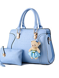 Women Bags All Seasons Patent Leather Bag Set with for Formal Outdoor Fuchsia Blue Blushing Pink Wine Light Blue