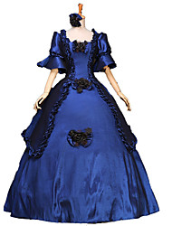 billige -Victoriansk Middelalderkostumer Kostume Dame Kjoler Festkostume Maskerade Balkjole Vintage Cosplay Blonde Bomuld Lang Længde Balkjole Plusstørrelser Customized / Blomstret