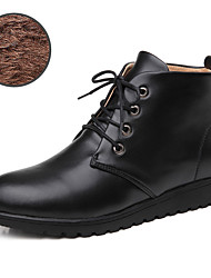Women's Boots Spring / Fall / Winter Fashion Boots / Comfort Leather Casual Flat Heel Lace-up Black / Brown