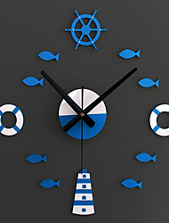 cheap -New Creative Fashion Eastern Mediterranean-style DIY Rudder Tower Preserver When Small Fish Clock DIY Wall Clock