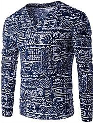 Недорогие -Муж. Спорт Богемный Пуловер - Контрастных цветов В клетку V-образный вырез