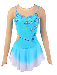 cheap -Figure Skating Dress Women's Girls' Ice Skating Dress Spandex Rhinestone Appliques Flower(s) High Elasticity Performance Practise Skating
