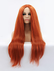 cheap -Synthetic Lace Front Wig Straight Middle Part Natural Hairline Red Women's Lace Front Carnival Wig Halloween Wig Natural Wigs Long