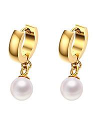 economico -Orecchini in oro titanio placcato oro 18 carati 8mm stile femminile classico
