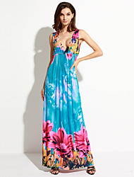 SWEET CURVE Women's Holiday / Plus Size Boho Dress,Floral Deep V Maxi Sleeveless Blue Polyester / Spandex Summer