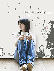 Removable Dandelion Girl Flying Freely Fashion Wall Stickers PVC Living Room Children's Bedroom Wall Decals