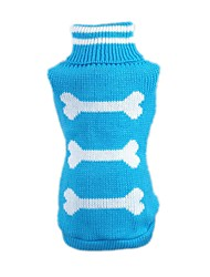 abordables -Gato Perro Suéteres Ropa para Perro Hueso Azul Rosa Fibra de acrílico Disfraz Para mascotas Hombre Mujer Casual/Diario