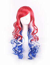 Red Blue White Ombre Feature Material Wig for Women Style Shown Color Costume Wig Cosplay Wigs