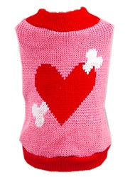 cheap -Cat Dog Sweater Dog Clothes Cute Birthday Casual/Daily Hearts Pink Costume For Pets