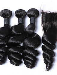 cheap -Malaysian Hair Loose Wave Hair Weft with Closure 3 Bundles With  Closure 12-26 inch Human Hair Weaves Natural Black Human Hair Extensions