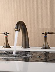 economico -Moderno Antico Modern A 3 fori Separato Valvola in ceramica Due maniglie Tre fori Rame anticato, Lavandino rubinetto del bagno