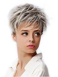 Недорогие -Парики из искусственных волос / Маскарадные парики Волнистый Стрижка под мальчика Серебряный Искусственные волосы Жен. Темные корни / Парик в афро-американском стиле Парик Короткие
