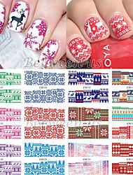 12pcs 아트 스티커 네일 물 전송 데칼 메이크업 화장품 아트 디자인 네일
