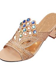 Da donna-Sandali-Casual-Con cinghia-Quadrato Heel di blocco-Lustrini PU (Poliuretano)-Nero Beige Blu scuro Royal Blue