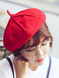 cheap -Women Winter Casual Solid Color Wool  British Dome Beret Octagonal Cap
