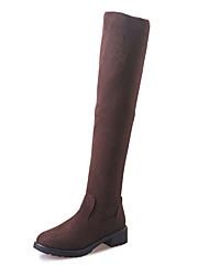 Damen Schuhe Kaschmir Winter Komfort Springerstiefel Stiefel Walking Flacher Absatz Runde Zehe Klett Für Normal Schwarz Braun