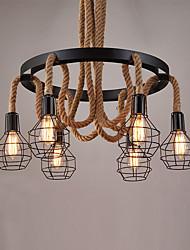 6 heads Vintage Hemp Rope Pendant Lights Metal Cage Design Living Room Dining Room Kitchen Bar Cafe Light Fixture