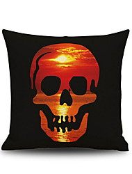 Halloween Red Sunset Skull Head  Linen Decorative Throw Pillow Case Cushion Cover