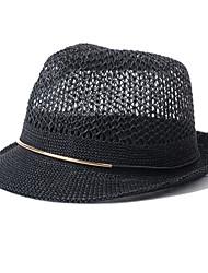 Unisex Summer Casual England Hollow Weaving Jazz Hat Couple Beach Straw Hat