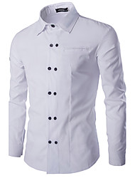 Men's Daily Casual Spring / Fall ShirtSolid / Patchwork Shirt Collar Long Sleeve Cotton Medium hot sale