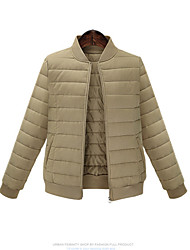 cheap -Women's Fashion Popular Simple Solid Padded Coat with Zipper Stand Collar Long Sleeve