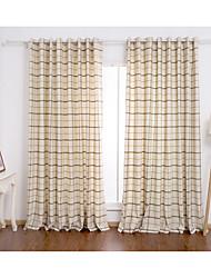 Due pannelli Trattamento finestra Moderno , A quadri Salotto Miscela polyester / cotone Materiale tende tende Decorazioni per la casa For