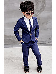 cheap -Boys' Formal Solid Shirt Suit & Blazer, Polyester All Seasons Long Sleeves Dresswear Red Blue
