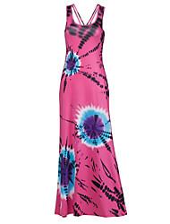 Femme Bohème Swing Robe Plage/Soirée Sexy/Bohème,Imprimé A Bretelles Maxi Sans Manches Rose Rayonne/Polyester Toutes les Saisons