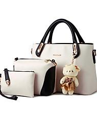 Donna Sacchetti Per tutte le stagioni Pelle di suino sacchetto regola Set di borsa da 3 pezzi per Nero Viola Giallo Blu Rosa