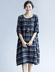 Women's Fine Stripe Going out Simple Loose Dress,Striped Round Neck Knee-length Long Sleeve Blue Polyester Fall Mid Rise Inelastic Medium
