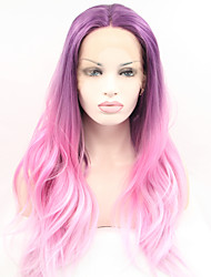 Sylvia Synthetic Lace front Wig Purple Pink Three Tones Hair Ombre Hair Heat Resistant Long Natual Wave Synthetic Wigs