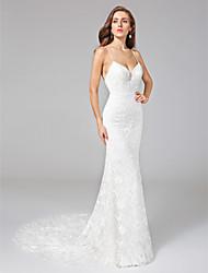 cheap -Sheath / Column Spaghetti Straps Court Train Lace Wedding Dress with Lace by LAN TING BRIDE®