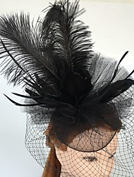 abordables -tul red pluma fascinators birdcage velos casco elegante estilo