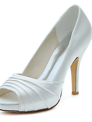 cheap -Women's Heels Spring / Fall Platform Stretch Satin Wedding / Party & Evening / Dress Stiletto Heel Ruffles Ivory