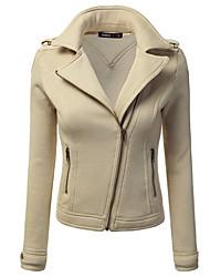 Damen Solide Einfach Street Schick Lässig/Alltäglich Übergröße Jacke,Frühling Herbst Hemdkragen Langarm Blau Beige Schwarz Braun Grau