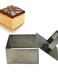 cheap -1Pcs Stainless Steel Square Shape Mousse Cake Ring Mold Layer Slicer Cookie Cutter DIY Baking