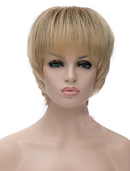 cheap -Synthetic Wig Straight / Yaki Golden Asymmetrical Haircut Synthetic Hair Natural Hairline Golden / Blonde Wig Women's Short Capless