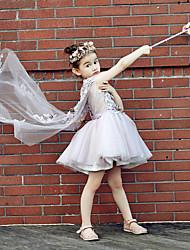 Ball Gown Knee Length Flower Girl Dress - Tulle Stretch Satin Sleeveless V-neck with Beading