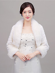 Women's Wrap Shrugs Faux Fur Wedding / Party/Evening / Office & Career Shawl Collar Feathers / fur Open Front